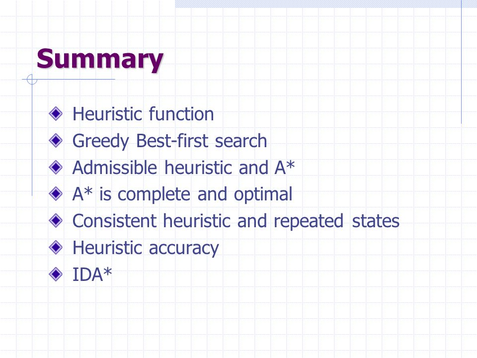 Summary Heuristic function Greedy Best-first search