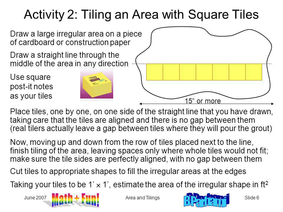 Activity 2: Tiling an Area with Square Tiles