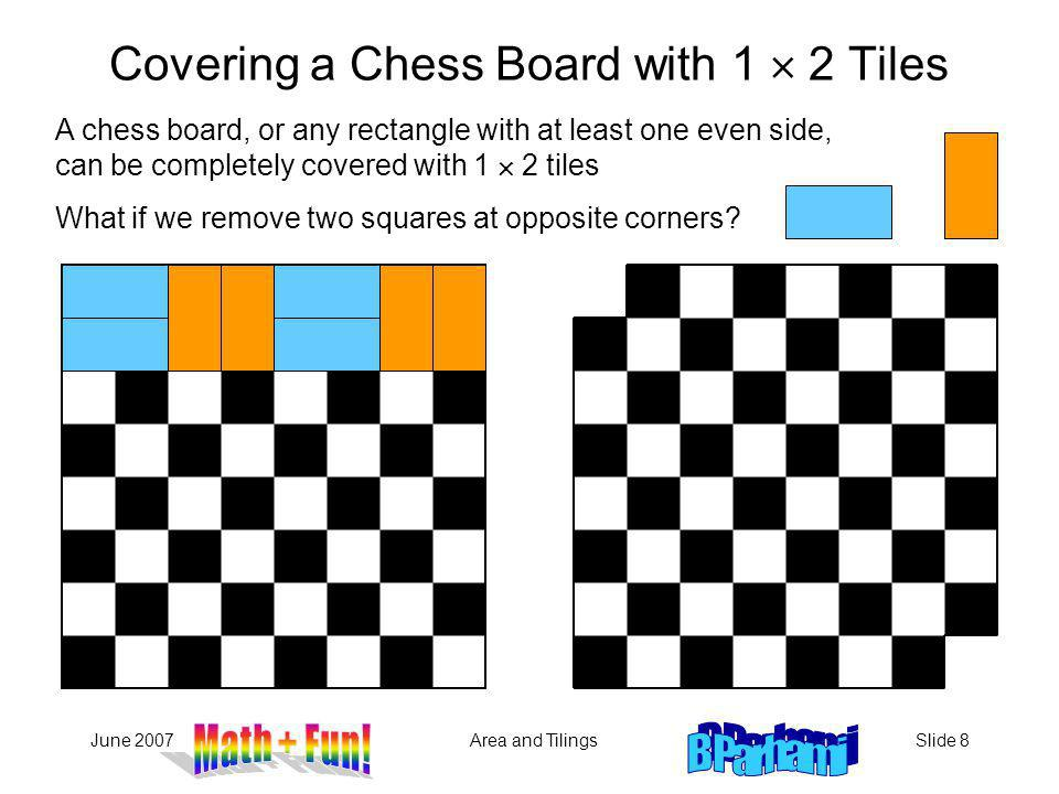 Covering a Chess Board with 1  2 Tiles