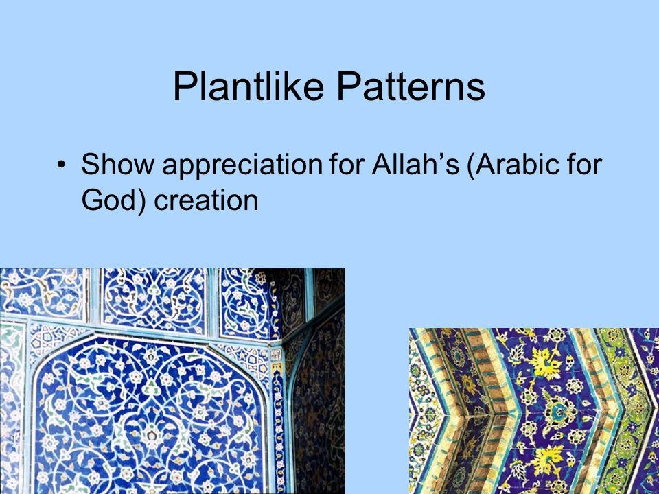 Plantlike Patterns Show appreciation for Allah's (Arabic for God) creation