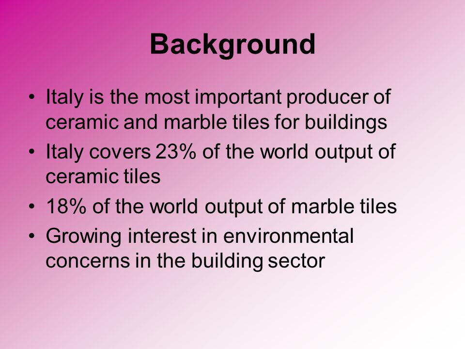 Background Italy is the most important producer of ceramic and marble tiles for buildings. Italy covers 23% of the world output of ceramic tiles.