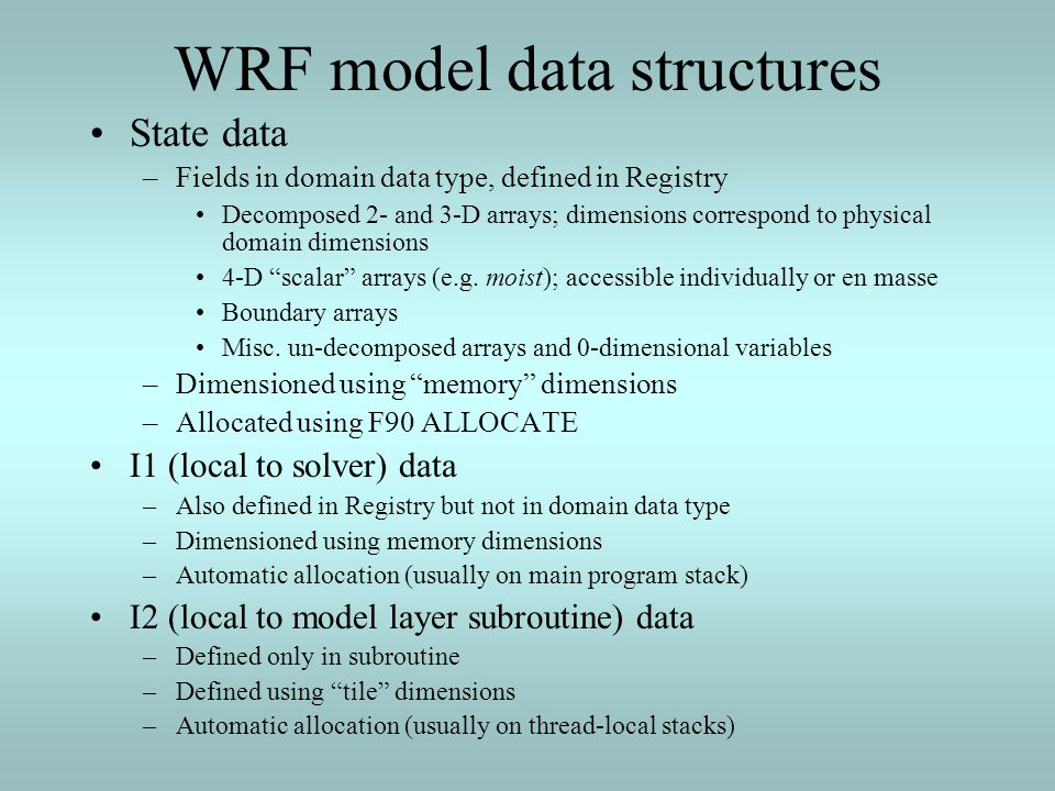 WRF model data structures