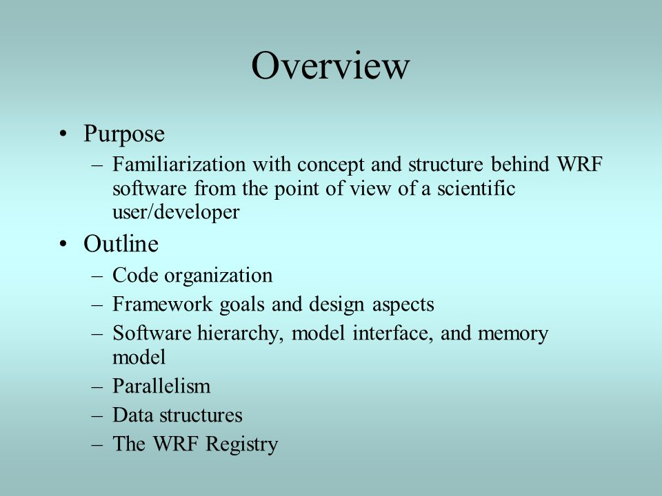 Overview Purpose Outline
