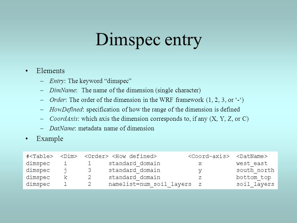 Dimspec entry Elements Example Entry: The keyword dimspec