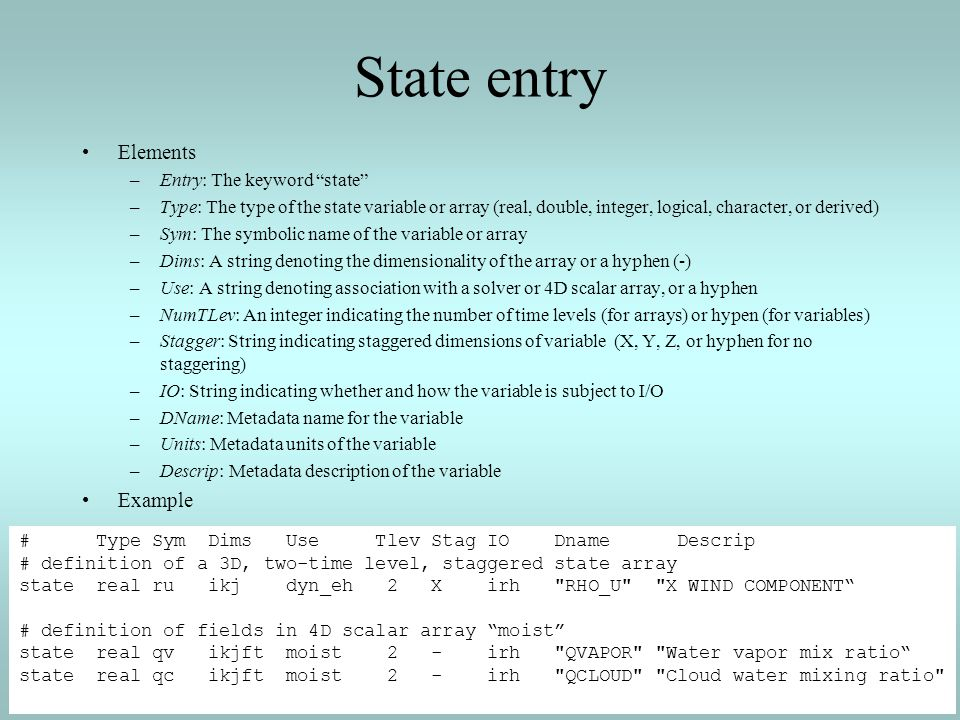 State entry Elements Example Entry: The keyword state