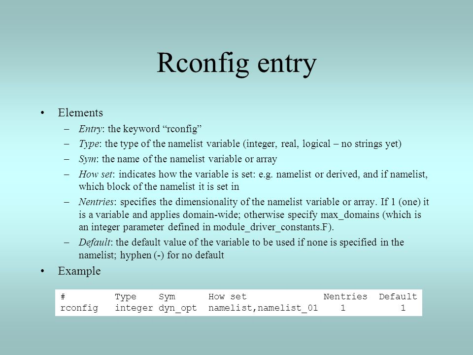 Rconfig entry Elements Example Entry: the keyword rconfig