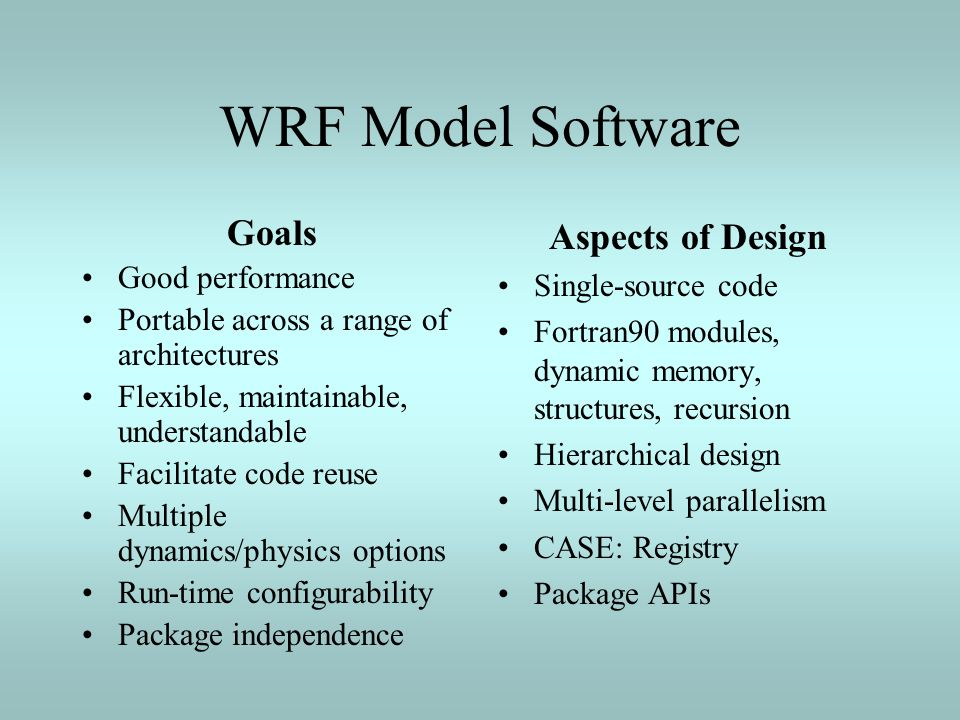 WRF Model Software Goals Aspects of Design Good performance