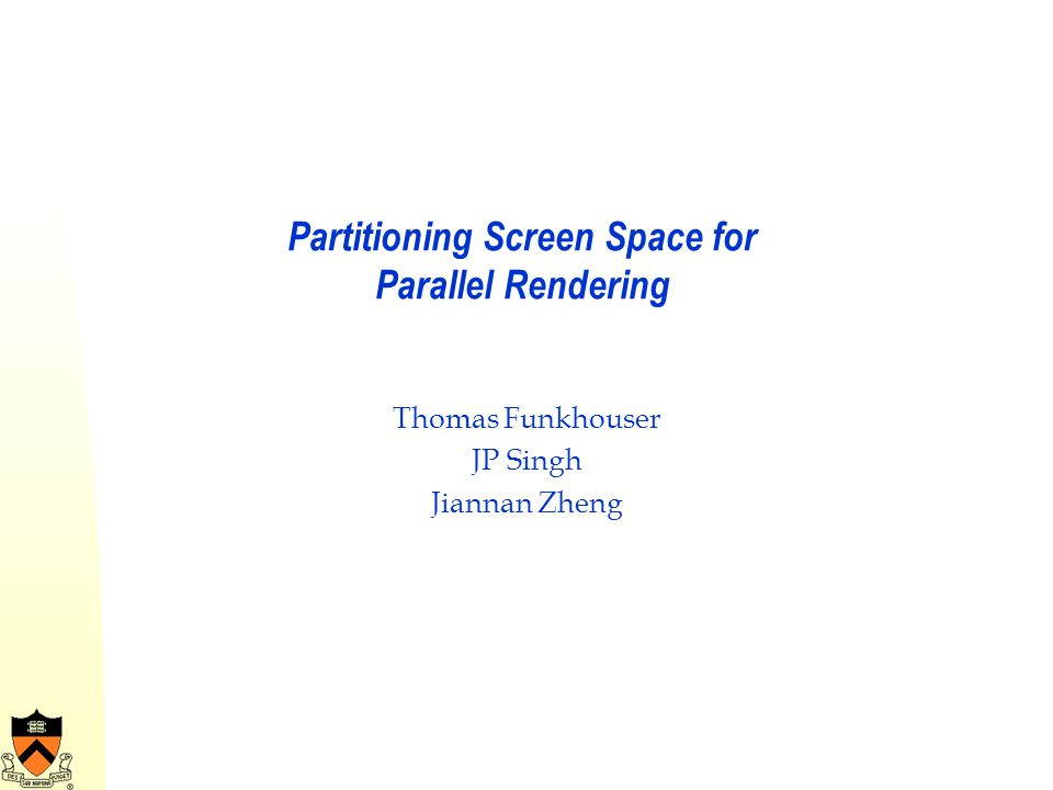 Partitioning Screen Space for Parallel Rendering