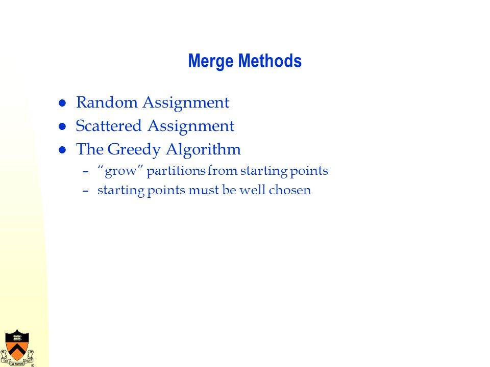 Merge Methods Random Assignment Scattered Assignment