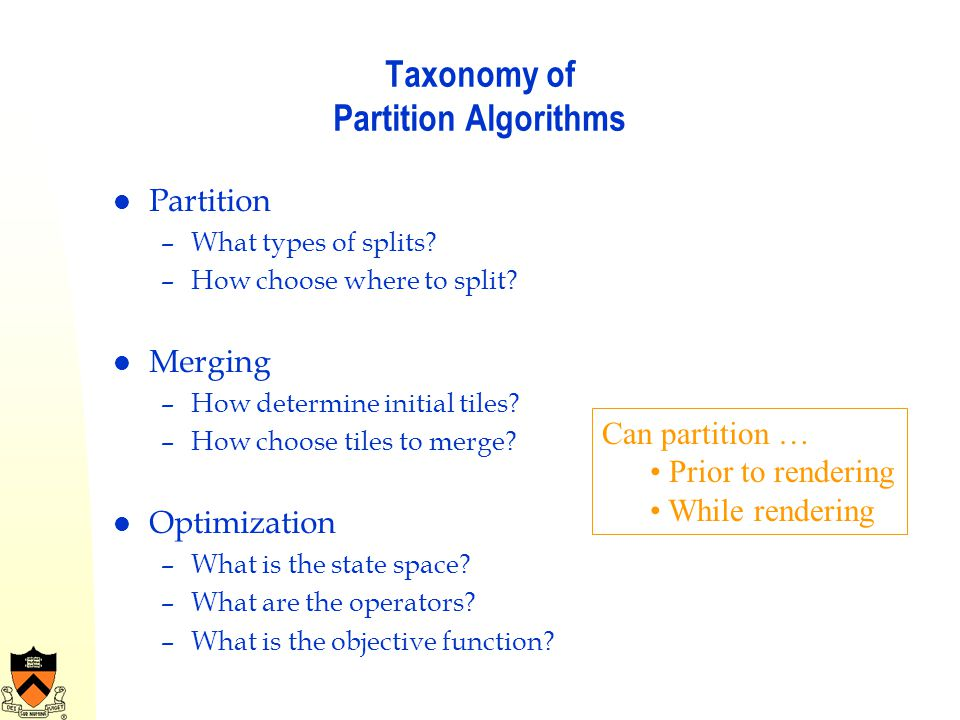 Taxonomy of Partition Algorithms
