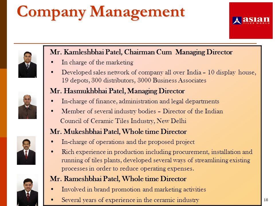 Company Management Mr. Kamleshbhai Patel, Chairman Cum Managing Director. In charge of the marketing.