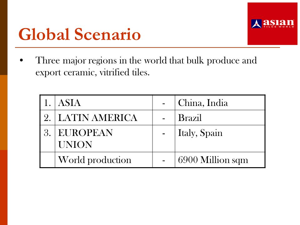 Global Scenario Three major regions in the world that bulk produce and export ceramic, vitrified tiles.