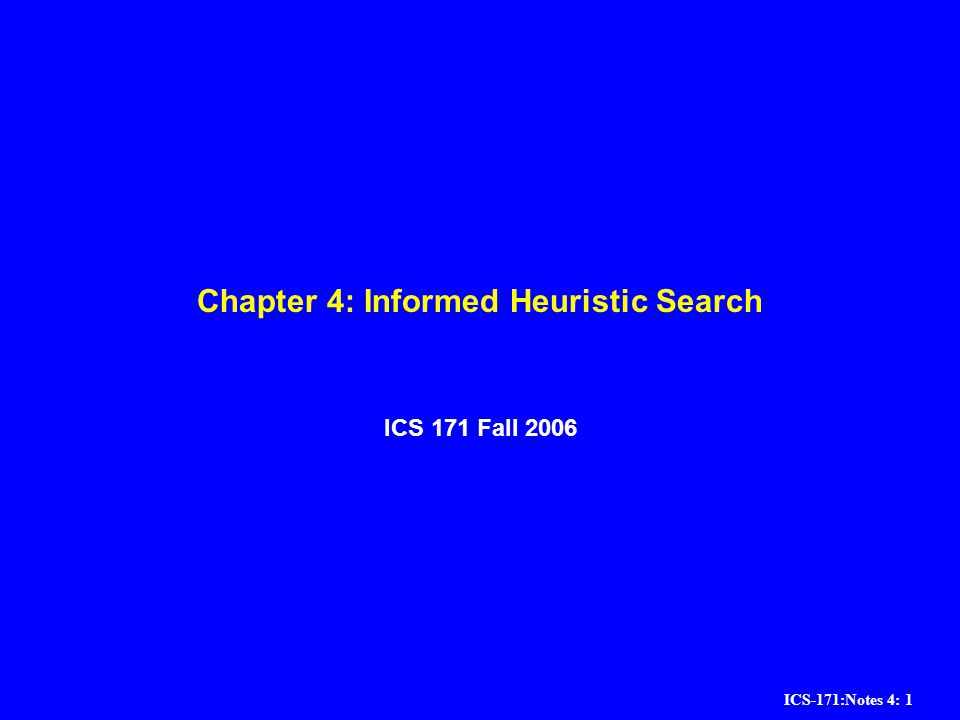 Chapter 4: Informed Heuristic Search