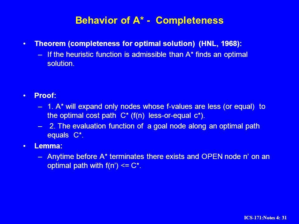 Behavior of A* - Completeness