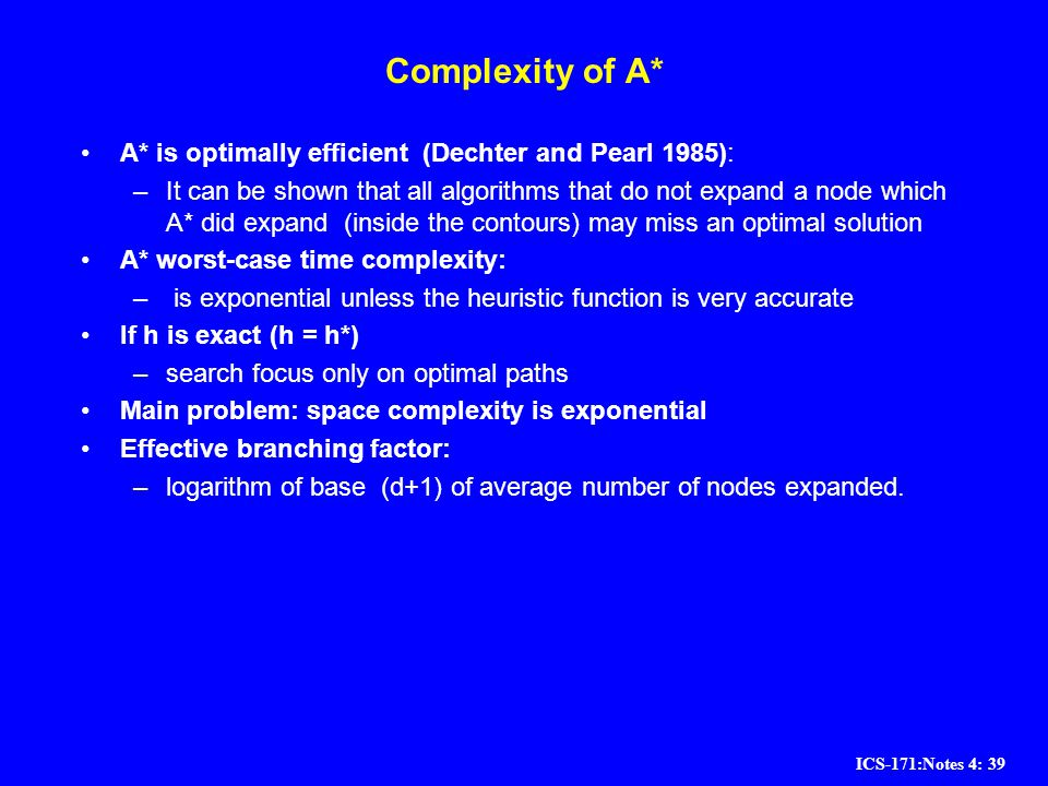 Complexity of A* A* is optimally efficient (Dechter and Pearl 1985):