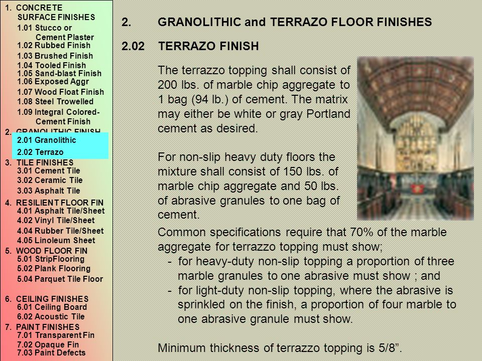 2. GRANOLITHIC and TERRAZO FLOOR FINISHES