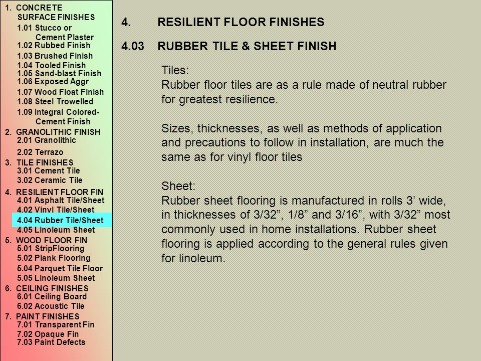 4. RESILIENT FLOOR FINISHES