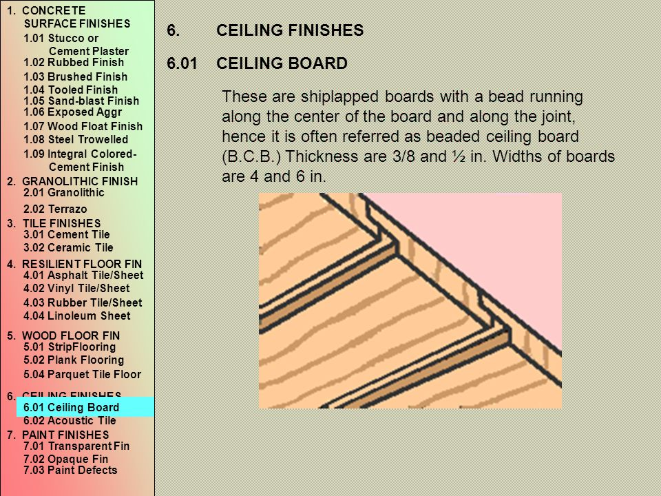 6. CEILING FINISHES 6.01 CEILING BOARD