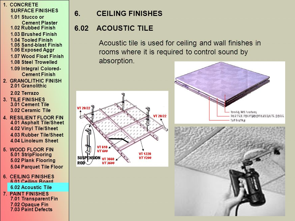 6. CEILING FINISHES 6.02 ACOUSTIC TILE