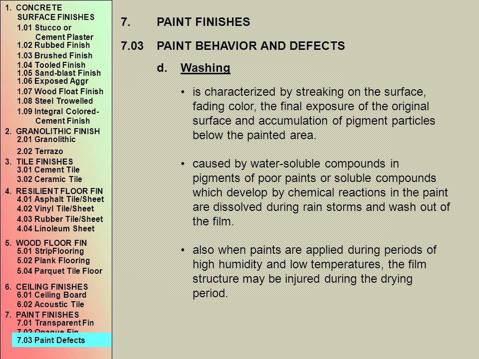 7.03 PAINT BEHAVIOR AND DEFECTS