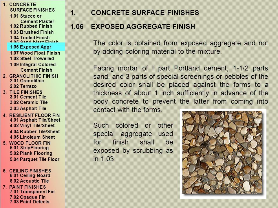 1. CONCRETE SURFACE FINISHES
