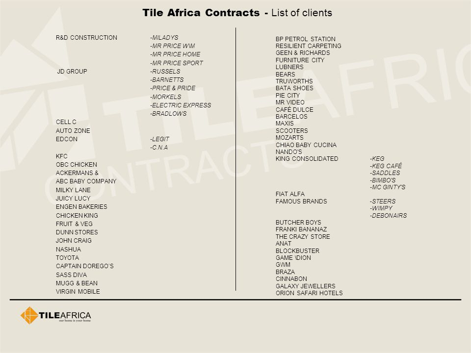 Tile Africa Contracts - List of clients