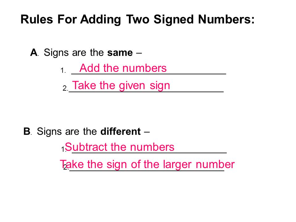 Rules For Adding Two Signed Numbers: