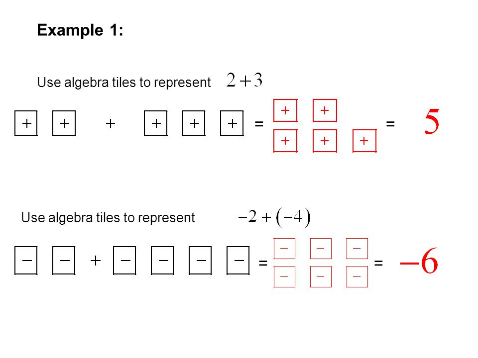 Example 1: = = = = Use algebra tiles to represent