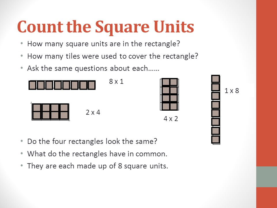 Count the Square Units How many square units are in the rectangle