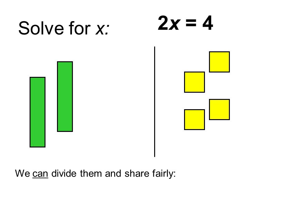 Solve for x: 2x = 4 We can divide them and share fairly: