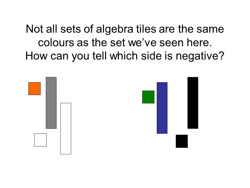 Not all sets of algebra tiles are the same colours as the set we've seen here.