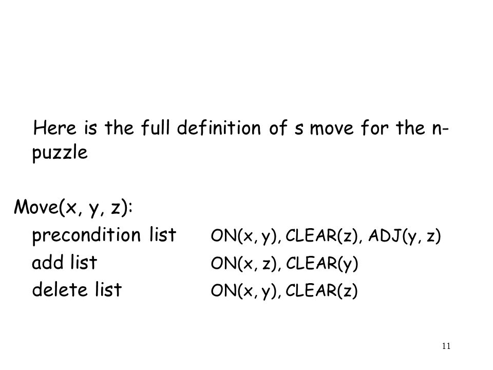 Here is the full definition of s move for the n-puzzle