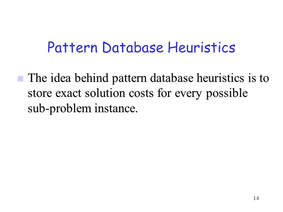 Pattern Database Heuristics