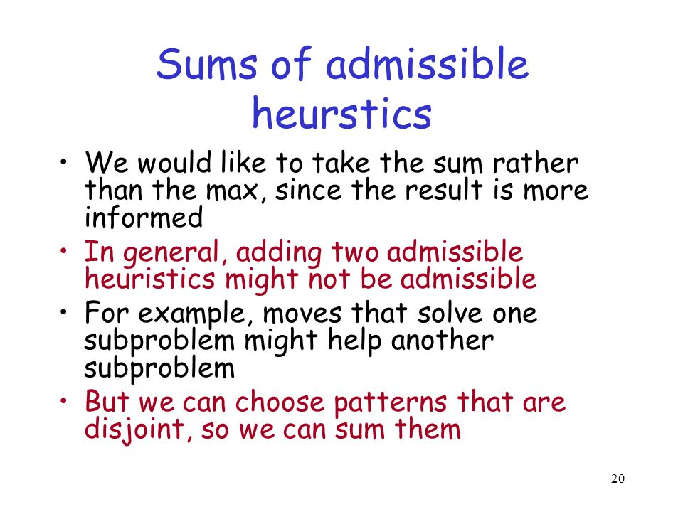 Sums of admissible heurstics