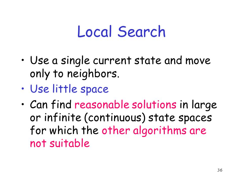 Local Search Use a single current state and move only to neighbors.