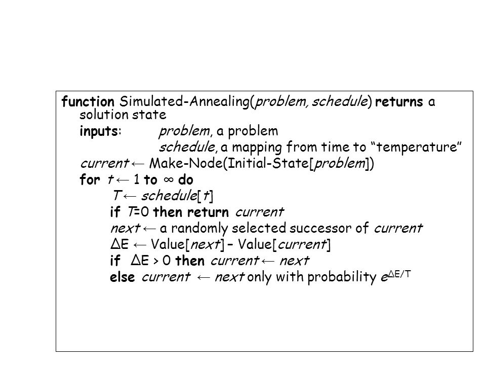 function Simulated-Annealing(problem, schedule) returns a solution state