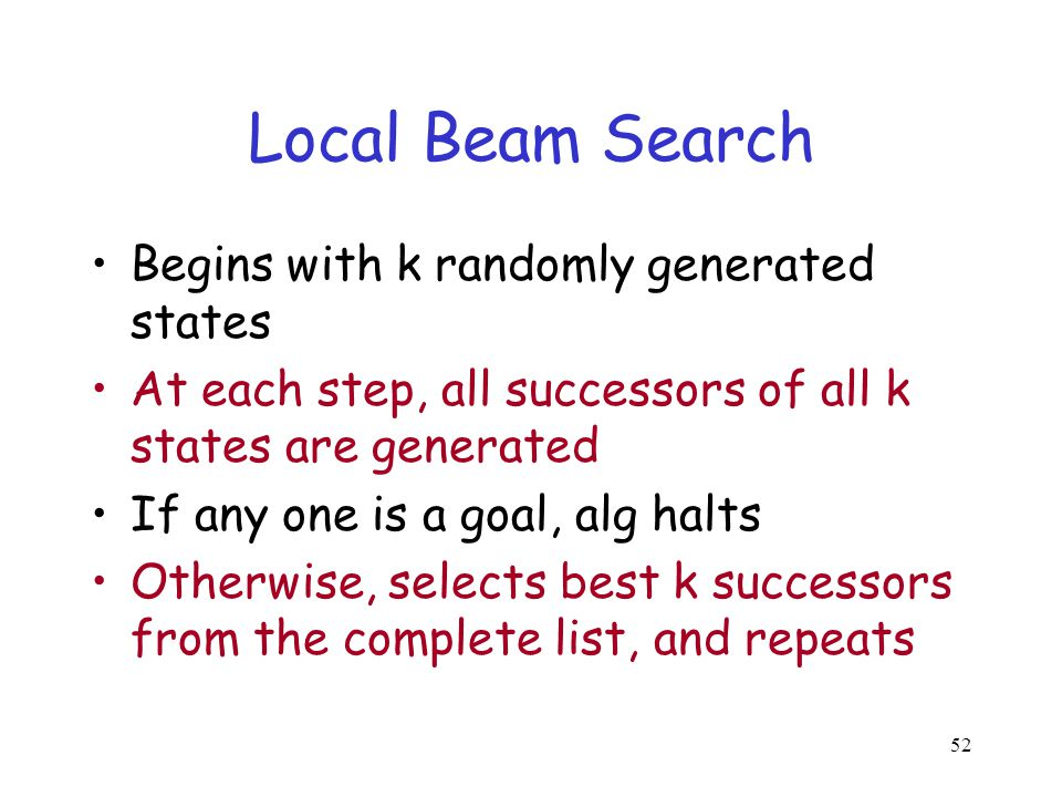 Local Beam Search Begins with k randomly generated states