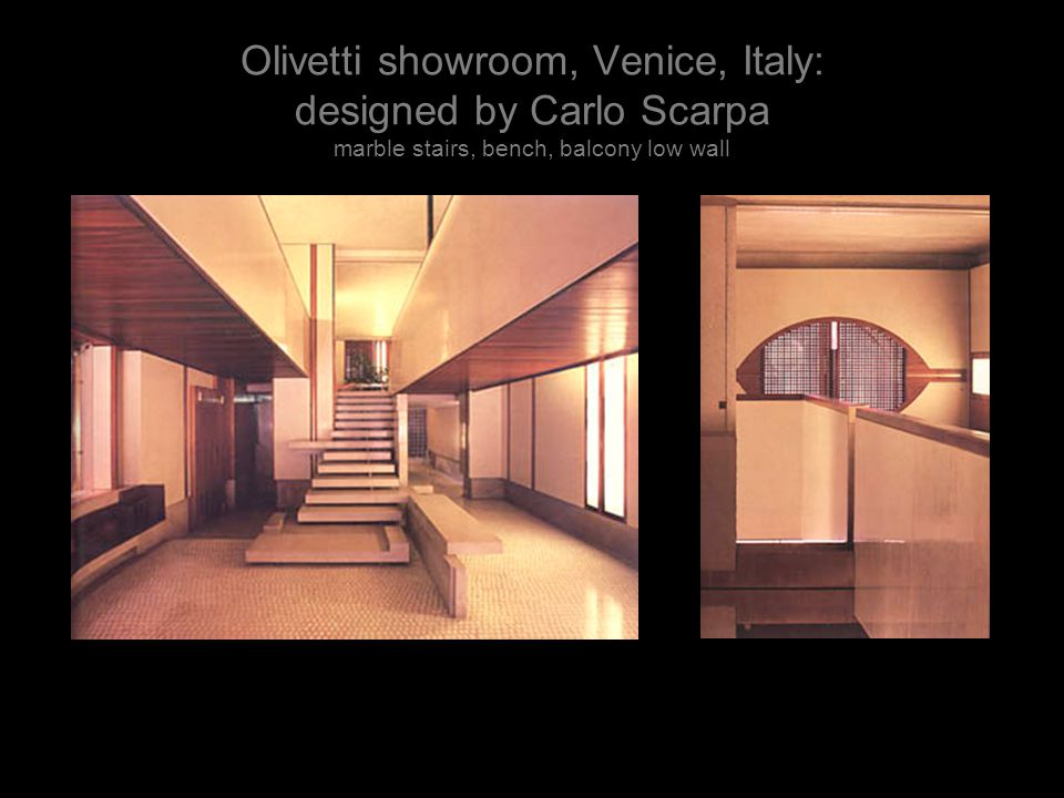 Olivetti showroom, Venice, Italy: designed by Carlo Scarpa marble stairs, bench, balcony low wall