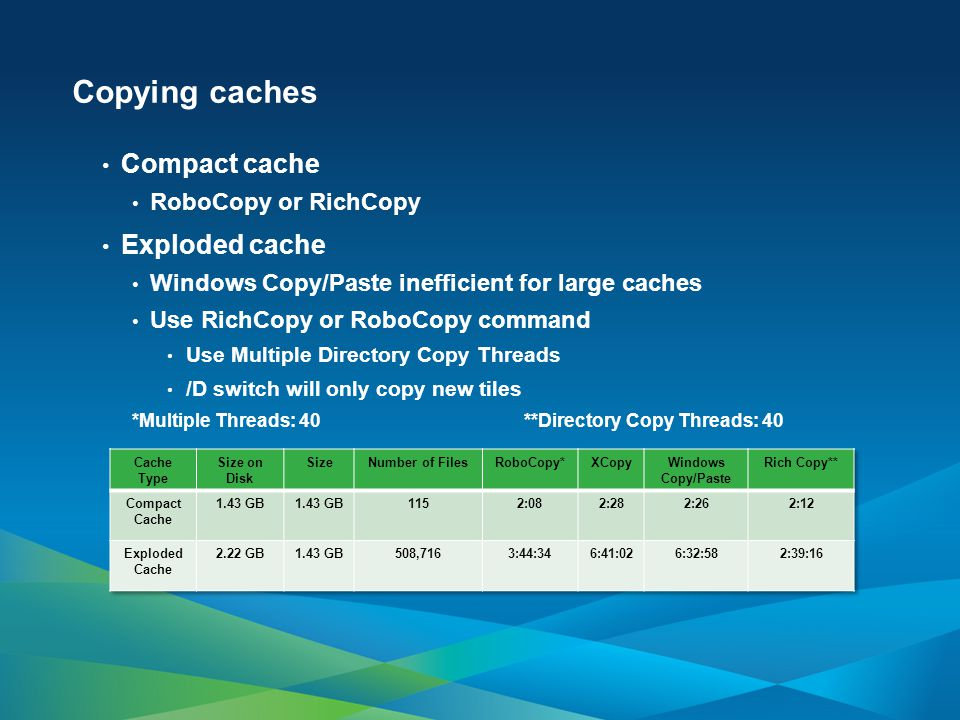 Copying caches Compact cache Exploded cache RoboCopy or RichCopy