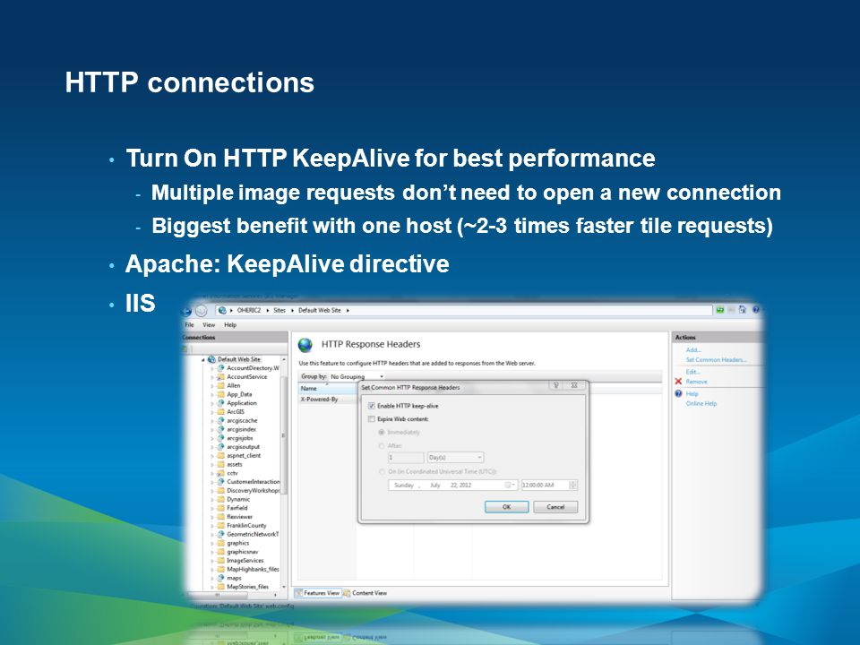 HTTP connections Turn On HTTP KeepAlive for best performance