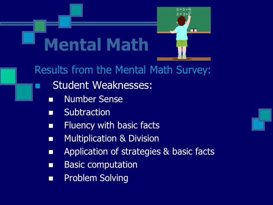 Mental Math Results from the Mental Math Survey: Student Weaknesses: