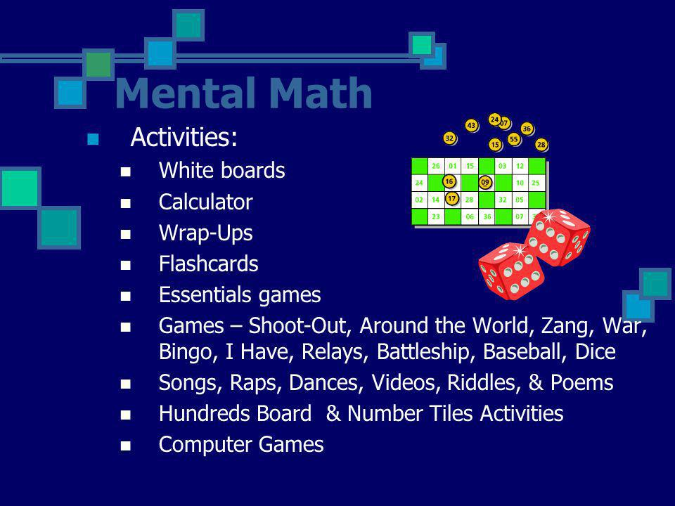 Mental Math Activities: White boards Calculator Wrap-Ups Flashcards