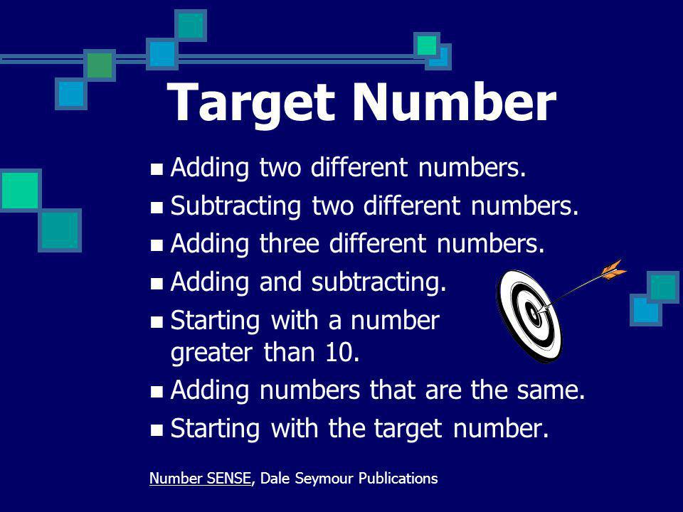 Target Number Adding two different numbers.