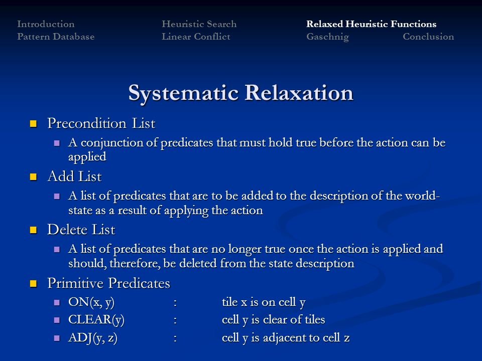 Systematic Relaxation