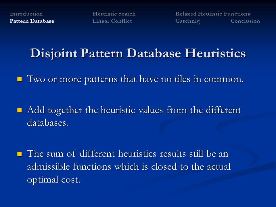 Disjoint Pattern Database Heuristics