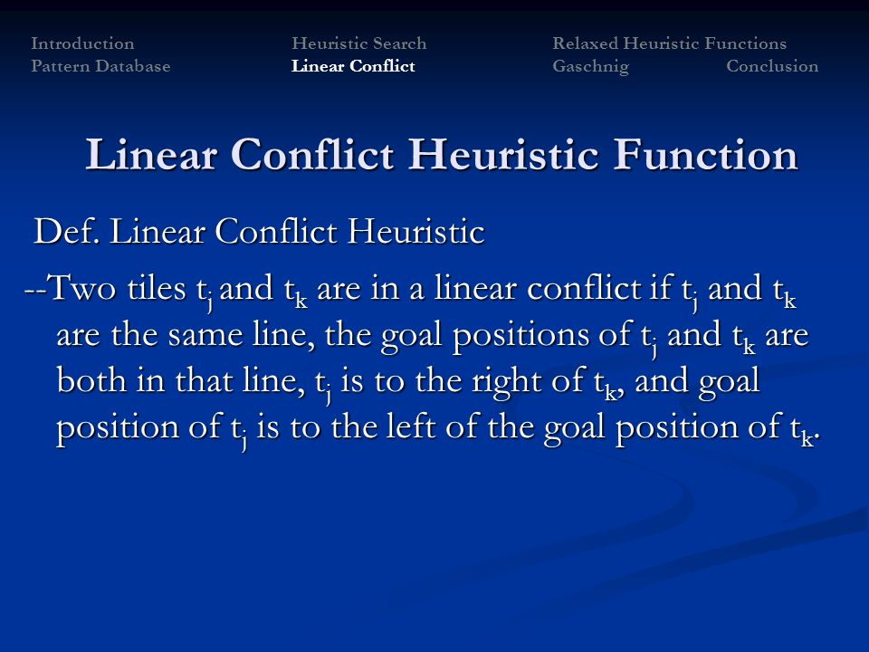 Linear Conflict Heuristic Function