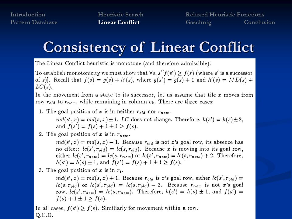 Consistency of Linear Conflict