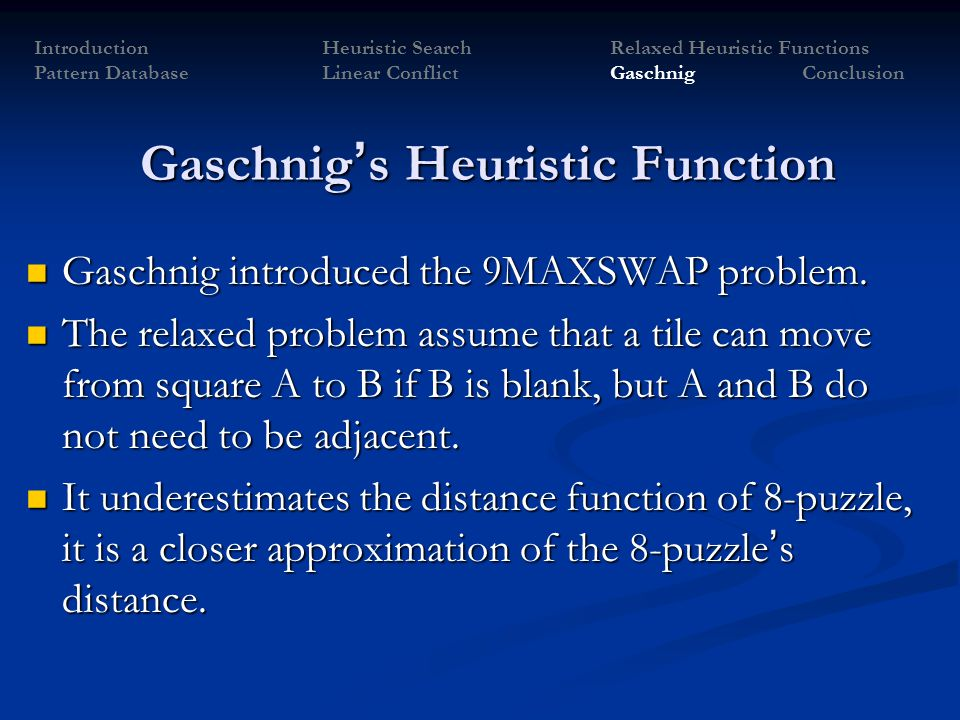 Gaschnig's Heuristic Function