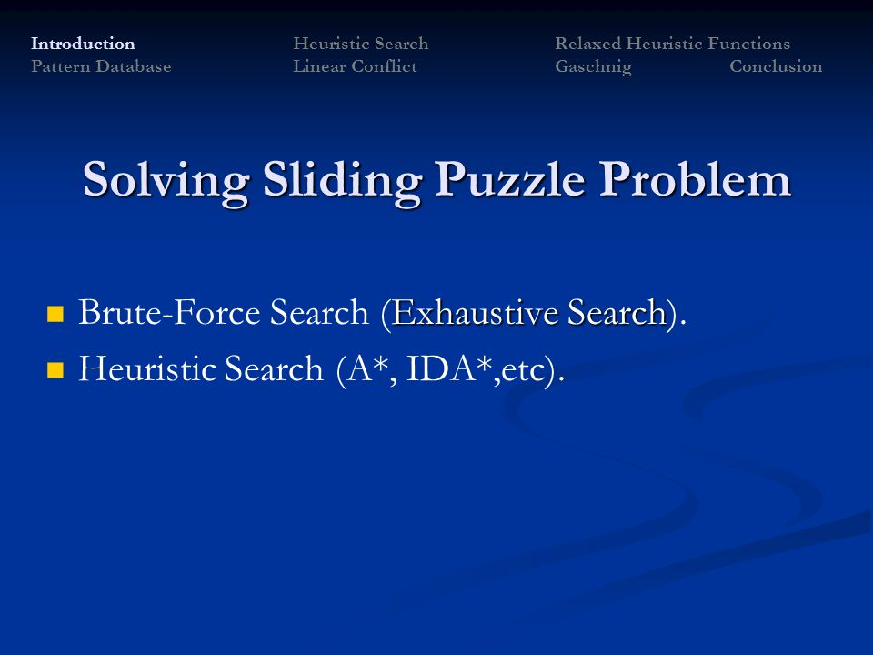 Solving Sliding Puzzle Problem