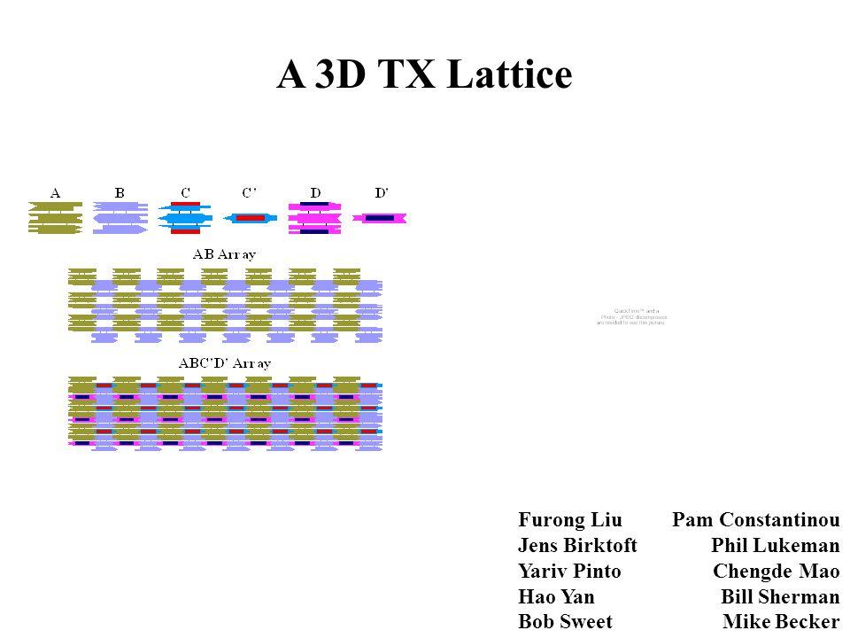 A 3D TX Lattice Furong Liu Jens Birktoft Yariv Pinto Hao Yan Bob Sweet
